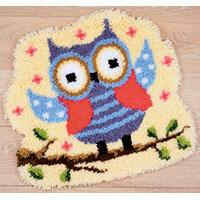 Funny Owl Latch Hook rug kit. by Vervaco 55x50cm