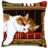Sleeping Cat Chunky Cross Stitch Cushion Front Tapestry Kit