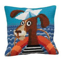 Sailor Dog Chunky Cross Stitch Cushion Front Kit