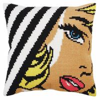 Pop Art Lips Chunky Cross Stitch Cushion Front Kit