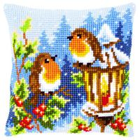Christmas Robins Chunky Cross Stitch Cushion Front Kit