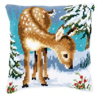 Little Deer In The Snow Chunky Cross Stitch Cushion Front Kit by