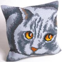 Grey Cat Chunky Cross Stitch Cushion Front Kit