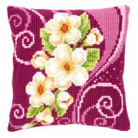 Cream Flower Garland Chunky Cross Stitch Cushion Front Tapestry