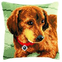 Dachshund Puppy Chunky Cross Stitch Cushion Front Kit