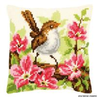 Bird In Pink Flowers Chunky Cross Stitch Cushion Front Kit 40x40