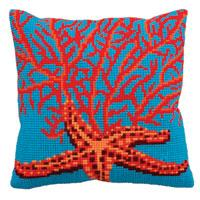 Red Starfish Chunky Cross Stitch Cushion Front Kit