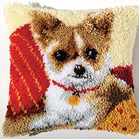 Chihuahua  Latch Hook Cushion Front Kit 40x40cm