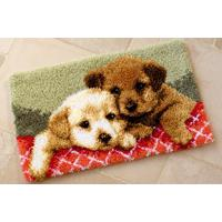 Adorable Puppies latch hook Rug Making Kit. 28x18""