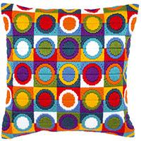 Bright Circles Longstitch chunky cross stitch cushion front kit