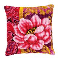 Pink Bloom Chunky Cross Stitch Cushion Front Kit