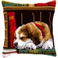 Sleeping Puppy Vervaco Chunky Cross Stitch Cushion Front Kit