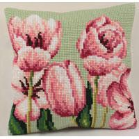 Spring Tulips Design Chunky Cross Stitch Cushion Front Kit