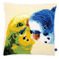Parakeets Budgies Chunky Cross Stitch Cushion Front Kit