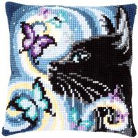 Cat & Butterflies Chunky Cross Stitch Cushion Front Kit