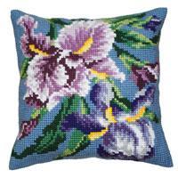 Purple Iris Chunky Cross Stitch Cushion Front Kit