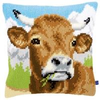 Alpine Cow Chunky Cross Stitch Cushion Front Kit 40x40cm