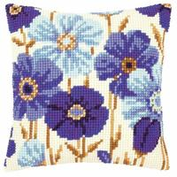 Anemones In Blue Chunky Cross Stitch Cushion Front Kit