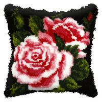 Pink Rose Latch Hook Cushion Front Kit. Orchidea, 40x40cm Print