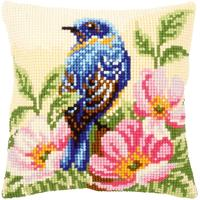 Bird On A Rose Chunky Cross Stitch Cushion Front Kit 40x40cm