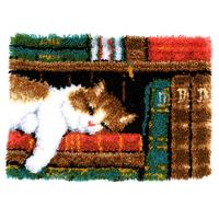 Cat On Bookshelf Printed Latch Hook Kit 53x39cm