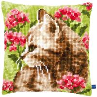 Cat & Flowers Chunky Cross Stitch Cushion Front Kit