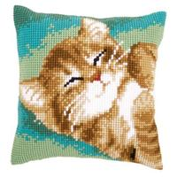 Ginger Kitten Printed Chunky Cross Stitch Cushion Front Kit PN-0