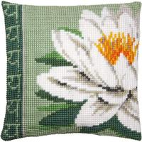 White Lotus Flower Printed Chunky Cross Stitch Cushion Front Tap