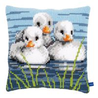 Three Ducklings Chunky Cross Stitch Cushion Front Kit 40x40cm