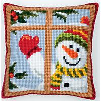 Happy Snowman, Chunky Cross Stitch Cushion FRont Kit