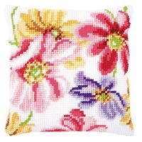 Colourful Flowers Chunky Cross Stitch Cushion Front Kit