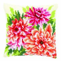 Pink Dahlias Chunky Cross Stitch Cushion Front Kit