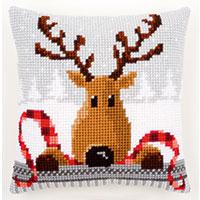 Funny Reindeer Chunky Cross Stitch Cushion Front kit