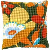 Retro Flowers Chunky Cross Stitch Cushion Front Kit