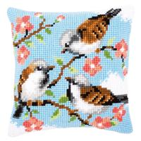 Birds In Flowers Chunky Cross Stitch Cushion Front Kit 40x40cm