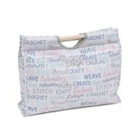 Knitting & Sewing Bag with Wooden Handles - Habby Words Pattern
