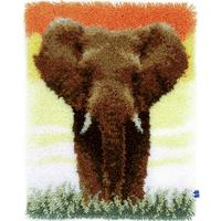 Savanna Elephant Latch Hook Kit 38x52cm