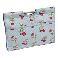 Knitting & Sewing Bag with Wooden Handles - Cherry Spot