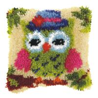 Green Owl (Small) Latch Hook Cushion Front Kit. Orchidea, 25x25