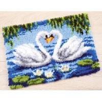 Swan Couple latch hook Rug Making Kit. 22x16""