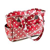 Vinyl Knitting Bag Craft Storage Bag - Red Spot