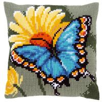 Butterfly & Yellow Flower Chunky Cross Stitch Cushion Front Kit