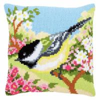 Bird In The Garden Chunky Cross Stitch Cushion Front Kit 40x40cm