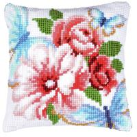 Butterflies & Flowers Chunky Cross Stitch Cushion Front Kit
