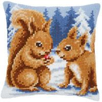 Squirrels Chunky Cross Stitch Cushion Front Kit 16x16""