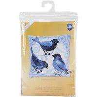 Bluebirds Chunky Cross Stitch Cushion Front Kit 40x40cm