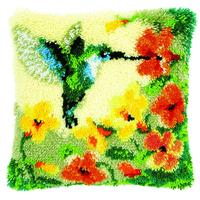 Hummingbird Latch Hook Cushion Front Kit