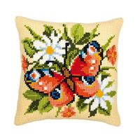 Butterfly on Flowers. Chunky Cross Stitch Cushion Front Kit 40x4