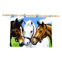 Three Horses Wall Hanging Panel chunky Cross Stitch Kit