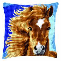 Brown Horse Vervaco Chunky Cross Stitch Cushion Front kit